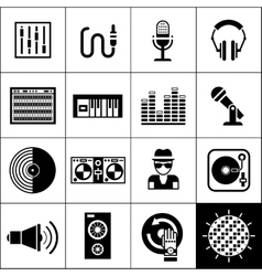 Dj icons black vector