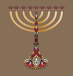 Drawing of a menorah with round floral lace vector