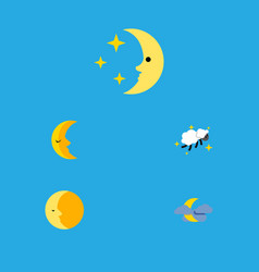 flat icon midnight set of midnight lunar moon vector image vector image