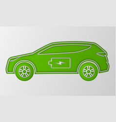 Green hybrid car in paper art style electric vector