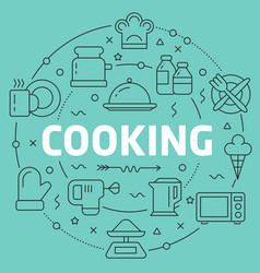 Green line flat circle cooking vector