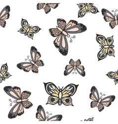 Hand drawn butterfly ink doodle seamless pattern vector image vector image