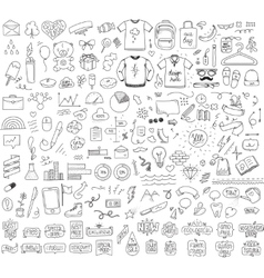 Isolated sketch objects bundle mega set of vector
