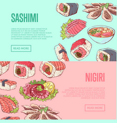 Japanese restaurant flyers with famous dishes vector
