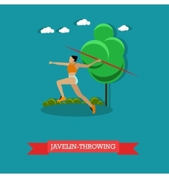 Javelin throwing sportswoman track and field vector