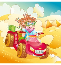 Little girl riding quad bike vector