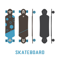 long skateboard bottom side and top view vector image