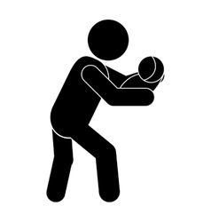 Man carrying baby icon vector