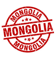 Mongolia red round grunge stamp vector