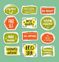 Natural cosmetics hand drawn labels set vector