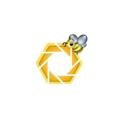 Photography logo with cute honeybee vector