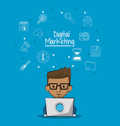 poster of digital marketing with man working in vector image