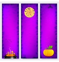 Purple halloween banners backgrounds set vector
