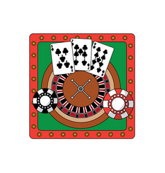 Roulette table with cards and chips casino relate vector