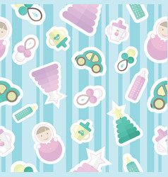seamless pattern with childrens goods and toys vector image