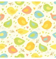 Seamless pattern with cute birds and tree branches vector image