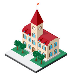 Town hall building with clock on the tower vector