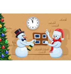Two snowmen vector