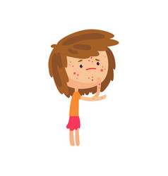unhappy girl suffering from rash on her body vector image vector image