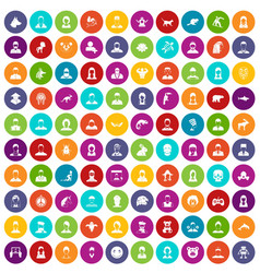 100 avatar icons set color vector