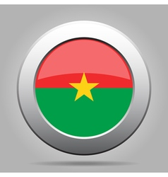 Flag of burkina faso shiny metal round button vector