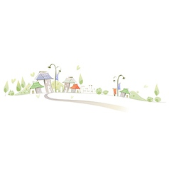 Curved path towards buildings vector image