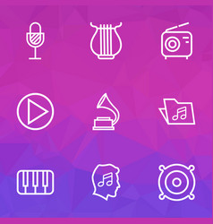 Music outlines set collection of cover circle vector