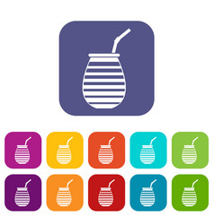 Tea cup used mate or terere in argentina icons set vector
