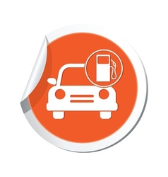car with gas station icon orange label2 vector image