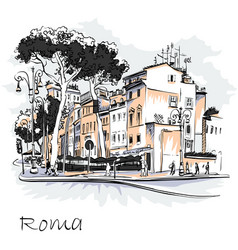Scenic city view of rome italy vector