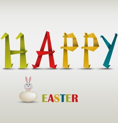 Happy easter card with folded colored paper vector