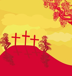 Crosses on a hill at sunset background concept vector