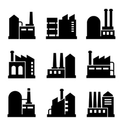 Factory and power industrial building icon set 2 vector