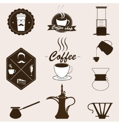 Coffee set retro style vector