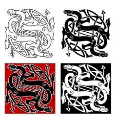 Celtic dragons pattern with tribal elements vector