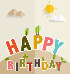 Happy birthday greeting card with happy birthday vector