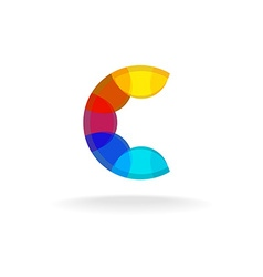 Letter c colorful overlay rainbow colors logo vector