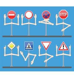 traffic signs with hands vector image