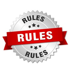 Rules 3d silver badge with red ribbon vector