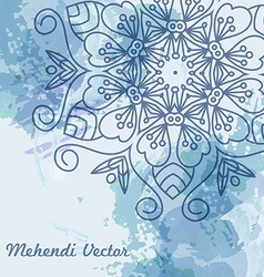 Mandala watercolor blue background vector