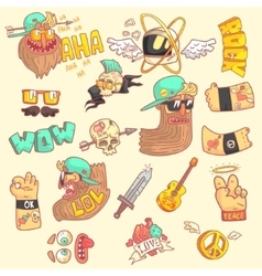 Set of stylized rock themed stickers vector
