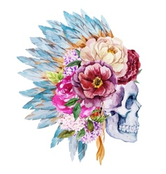 Anemones and skull vector