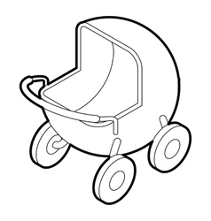 Baby carriage icon outline style vector