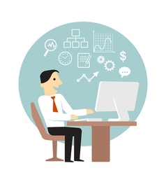 Businessman with computer doing business analysis vector image