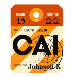 Cairo airport luggage tag vector