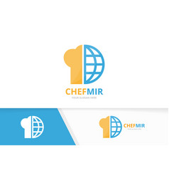 Chef hat and planet logo combination vector