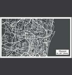 Chennai india city map in retro style outline map vector