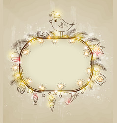 Christmas background with bird vector image vector image