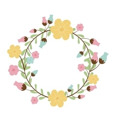 Circular arch with leaves and flowers vector
