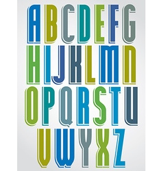 Colorful animated font comic upper case letters vector